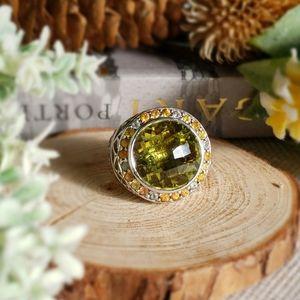 Quartz & Multi-Colored Sapphire S/S Ring
